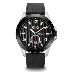 Men's Black Leather Strap Chronograph Watch 37ESQ007301A