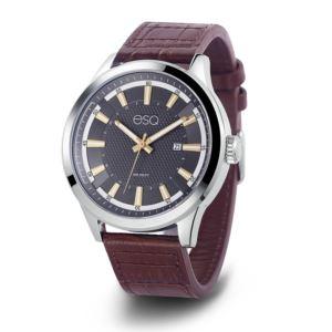 Men's Brown Leather Strap Watch 37ESQ017301A