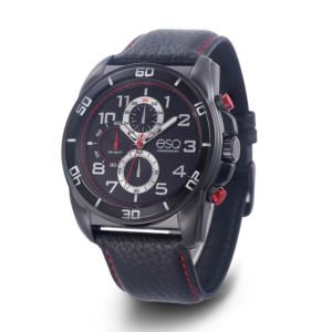 Men's Black Leather Strap Chronograph Watch 37ESQ021001A