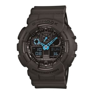 Men's G-Shock Watch - Black/Neon Blue GA100C-8A