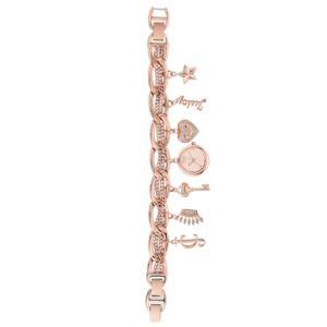 Women's Rose-Gold Charm Bracelet Watch HSN-JC/1040RGCH