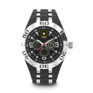 Men's U.S. Army Black And White Dial Watch with Black Rubber Strap WA-37200014