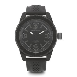 Men's U.S. Marine Corps Stealth Dial Watch with Black Rubber Strap WA-37100002