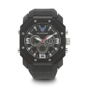 Men's U.S. Air Force Black And White Dial Watch with Black Rubber Strap WA-37300008