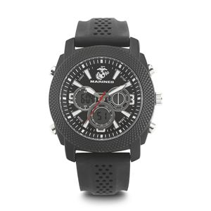 Men's U.S. Marine Corps Black And White Dial Watch with Black Rubber Strap WA-37100003
