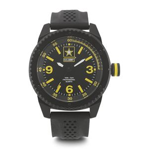 Men's U.S. Army Black And Yellow Dial Watch with Black Rubber Strap WA-37200002