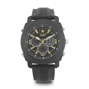 Men's U.S. Army Black And Yellow Dial Watch with Black Rubber Strap WA-37200003