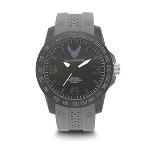 Men's U.S. Air Force Stealth Dial Watch with Grey Rubber Strap WA-37300004