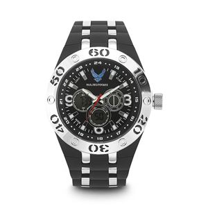 Men's U.S. Air Force Black And White Dial Watch with Black Rubber Strap WA-37300007