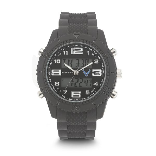 Men's U.S. Air Force Black And White Dial Watch with Black Rubber Strap WA-37300005