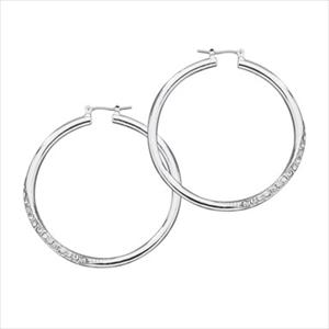 Crystal Accented Hoop Earrings - Silver GJ-136484