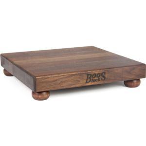 American Black Walnut Cutting Board w/ Wooden Bun Feet, 12'' x 12'' x 1.5'' BOOS-WAL-B12S