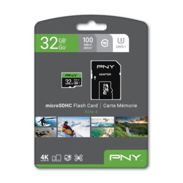 PNY 32GB Elite-X MicroSDHC U3 Card P-SDU32U3WX-GE