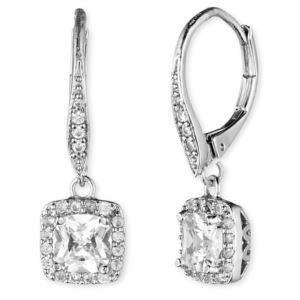 Silver-Tone CZ Drop Earrings 60377162-G03
