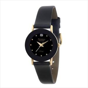 Women's Diamond Accented Gold-Tone Leather Watch 75-2447BLK