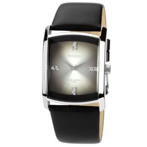 Men's Black Leather Strap Watch 20-4604DGSVBK