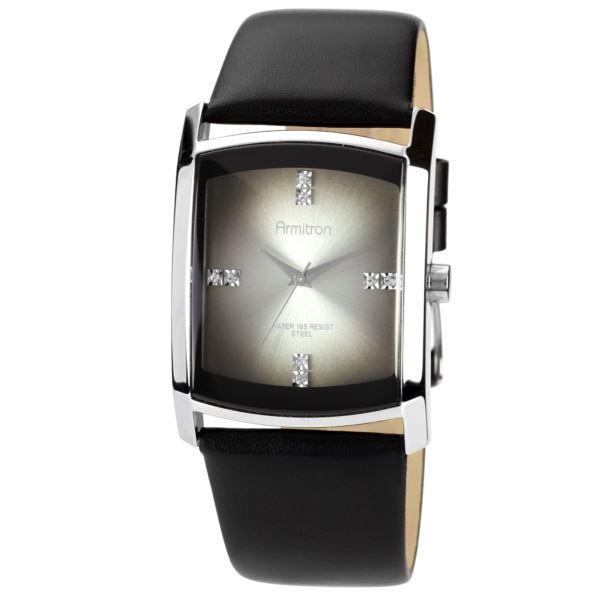Men's Black Leather Strap Watch 20-4604DGSVBK