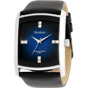 Men's Dress Silver-Tone Black Leather Strap Watch 20-4604DBSVBK
