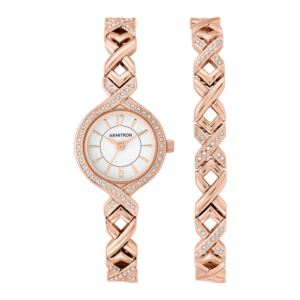 Women's Swarovski Crystal Accented Watch and Bracelet Set - Rose Gold 75-5412WTRGST