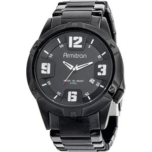 Men's Black Plated Stainless-Steel Watch 20-4692BKTI