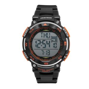 Men's Black Strap Orange Accented Digital Chronograph Watch 40-8254ORG