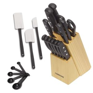 22 Piece Triple Rivet Stainless Steel Self-Sharpening Knife Block Set with Kitchen Tool Set FB-5152501