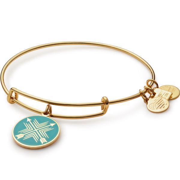 Arrows of Friendship Charm Bangle - Shiny Gold Finish CBD15AOFYG