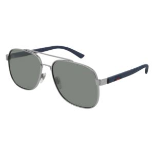 Men's Ruthenium Metal Aviator Sunglasses - Mirror Grey/Blue GG0422S-004
