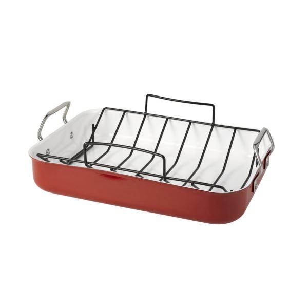 Red Aluminum Roaster W/Ceramic Interior (2) 35493