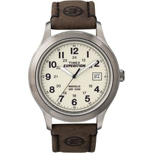 Men's Expedition Metal Field Brown Leather Strap Watch T49870