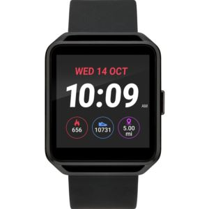 iConnect Rectangle Black Case Digital Dial Black Silicone Strap Smartwatch TW5M31200