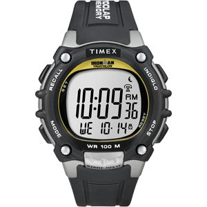 Men's Ironman Traditional 100-Lap Silver-Tone/Black Resin Strap Watch T5E231