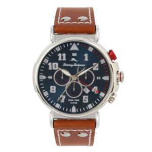 Men's Bay View Dual-Time Chronograph Watch with Blue Dial and Cognac Leather Strap TB00001-01