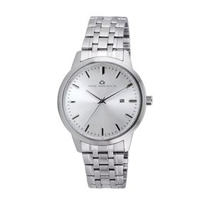 Men's Silver Dial Watch with Stainless Steel Bracelet TAM322-SLV