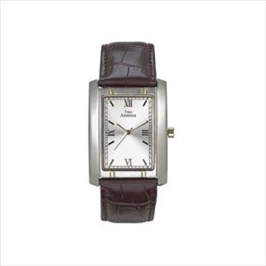 Men's Two-Tone Tank Style Leather Strap Watch TAM102-TT