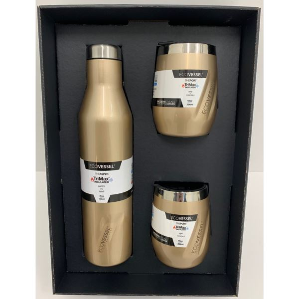 Aspen and Port Bundle - Insulated Stainless Steel Bottle and 2 Cups -Gold ASPNPORTGD