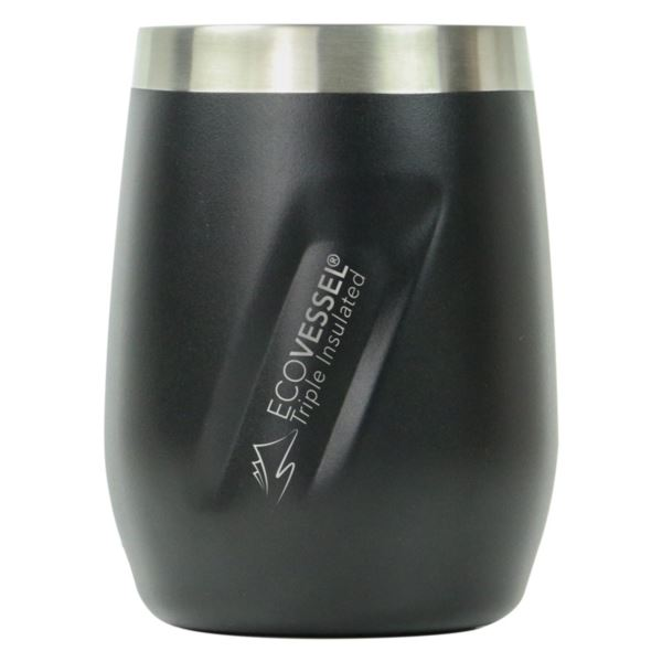 Port - Black 10oz TriMax Triple Insulated Wine Cup and Rocks Glass with Tritan Lid PORT10BS