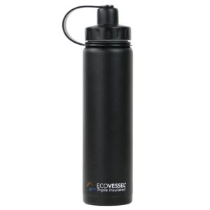 BOULDER - 24oz TriMax Triple Insulated Bottle with 2-Piece Screw Cap and Strainer - Black BLD700BS