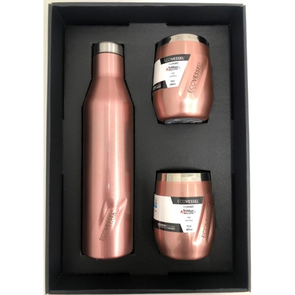 Aspen and Port Bundle - Insulated Stainless Steel Bottle and 2 Cups - Rose Gold ASPNPORTRG