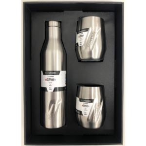 Aspen and Port Bundle - Insulated Stainless Steel Bottle and 2 Cups - Silver ASPNPORTSE