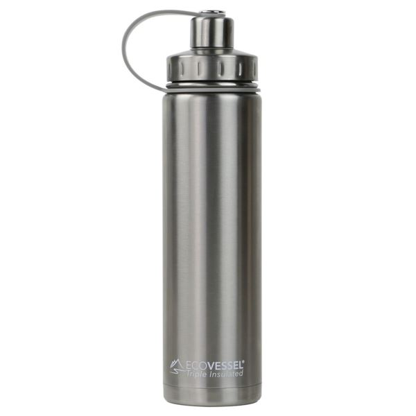 BOULDER - 24oz TriMax Triple Insulated Bottle with 2-Piece Screw Cap and Strainer - Silver BLD700SE