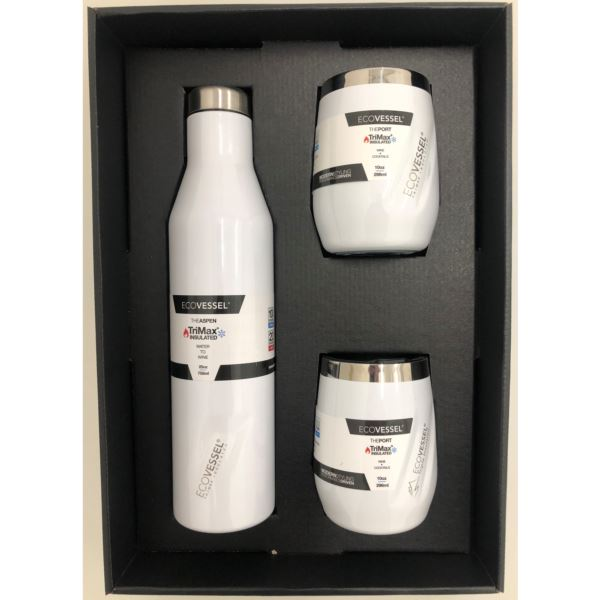 Aspen and Port Bundle - Insulated Stainless Steel Bottle and 2 Cups -White ASPNPORTWP