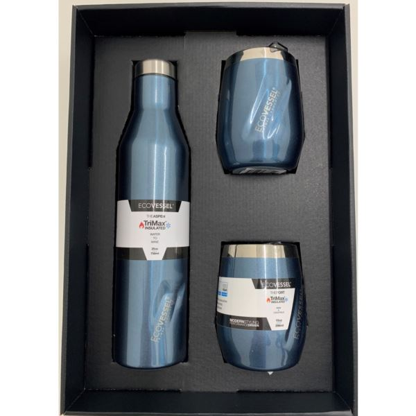 Aspen and Port Bundle - Insulated Stainless Steel Bottle and 2 Cups - Blue Moon ASPNPORTBM