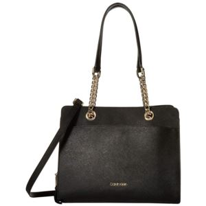 Hayden Saffiano Leather Chain Satchel - Black/Gold H8GD19DA-BGD