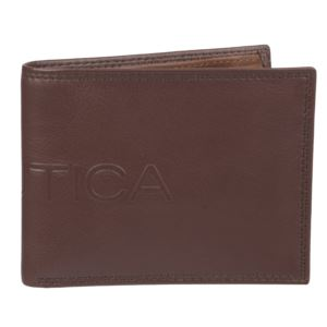 Men's Leather Bifold Wallet with Coin Case - Cognac 31NU130015