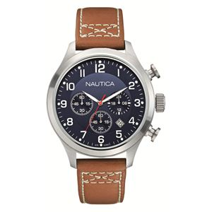 Men's Blue Dial and Brown Leather Strap Chronograph Watch N14699G