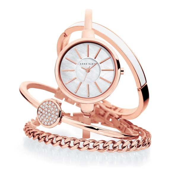 Women's Interchangeable Rose Gold Bangle Bracelet Watch Set AK-1470RGST