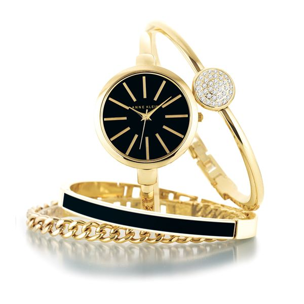 Women's Interchangeable Gold Bangle Bracelet Watch Set AK-1470GBST