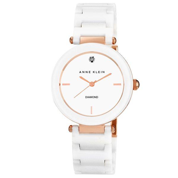 Women's Ceramic Diamond Dial White Bracelet Watch AK-1018RGWT