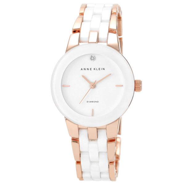 Women's Diamond Dial Rose Gold and White Ceramic Bracelet Watch AK-1610WTRG